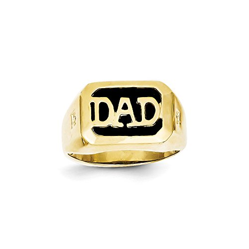 Ring Onyx Dad (Size 8 - Solid 10k Yellow Gold Men's Diamond and Black Simulated Onyx DAD Ring (13mm))