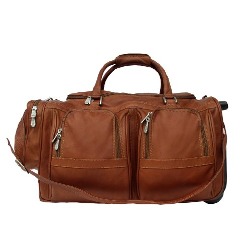 Piel Leather Duffel with Pockets On Wheels, Saddle, One Size by Piel Leather