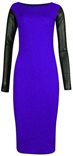 Cornichon Chocolat ® Nouvelles Femmes Taille Plus Partie Soir Pu Pleine Manche Moulante Bleu Royal
