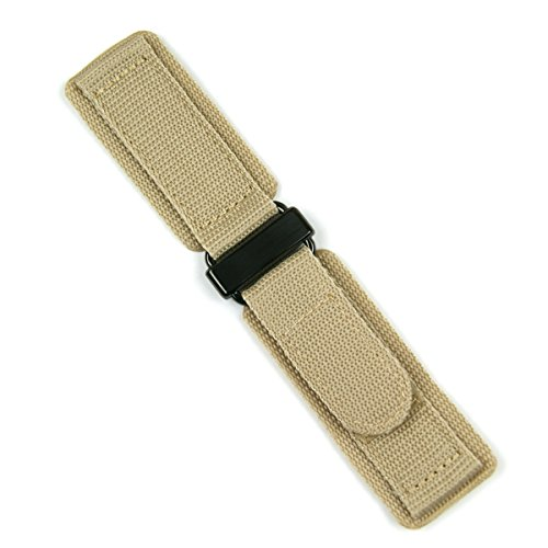 B & R Bands 20mm Khaki Nylon Velcro Watch Band Strap - Carbon - Large Length