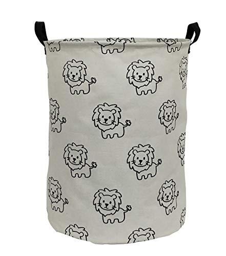 ESSME Laundry Hamper,Collapsible Canvas Waterproof Storage Bin for Kids, Nursery Hamper,Gift Baskets,Home Organizer (Lions)
