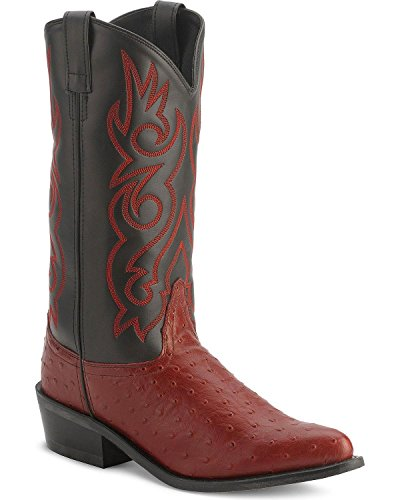 Old West Men's Fancy Stitched Ostrich Print Cowboy Boot Pointed Toe Black Cherry 12 D(M) US