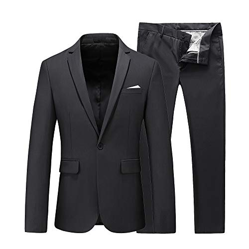 UNINUKOO Mens Slim Fit 2 Piece Single Breasted Jacket Party Prom Tuxedo SuitsUS Size 40 (Label Size 4XL) Grey