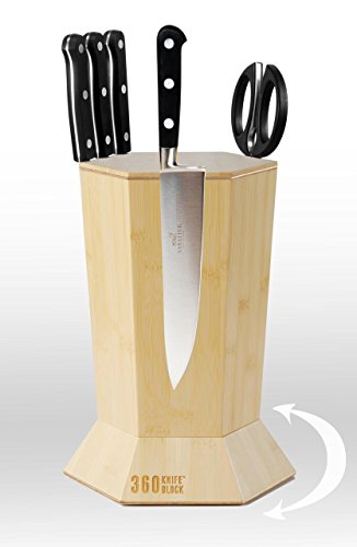 360 Knife Block - (Blonde Bamboo) ROTATING - Magnetic - BEST Universal Knife Block by 360 Knife Block