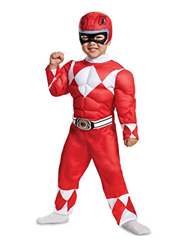 Disguise Red Ranger Toddler Muscle Child Costume, Red, Medium/(3T-4T)