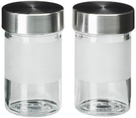 Ikea Droppar Pot A Epices Verre Depoli Acier Inox 2 Pieces