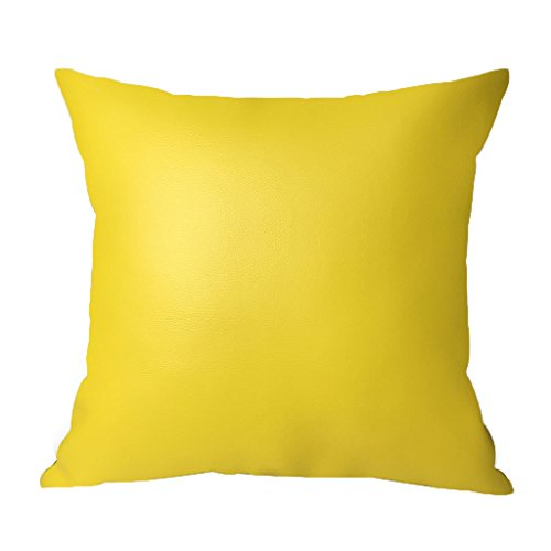 LAZAMYASA Sofa Pillow Covers Soft Batik Effect PU Faux Leather Throw Pillowcase Home Decorative Chairs Cushion Covers One Side PU Leather One Side Linen,1PCS,Yellow