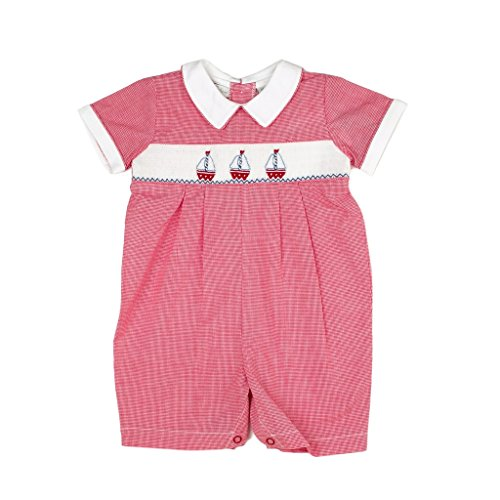 Carriage Boutique Baby Boy Red Shortall - Hand Smocked Sailboat Scene, 3M (Newborn) (Sailboat Smocked)