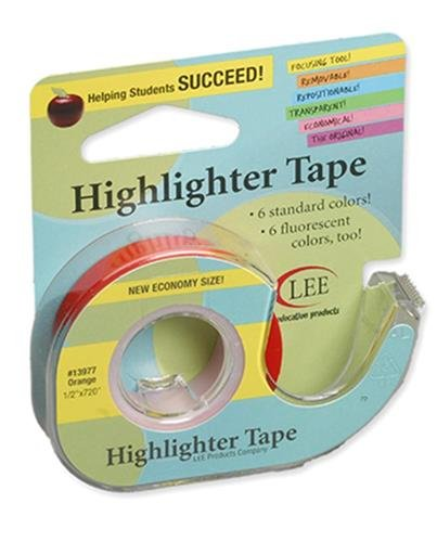 REMOVABLE HIGHLIGHTER TAPE ORANGE by LEE PRODUCTS COMPANY