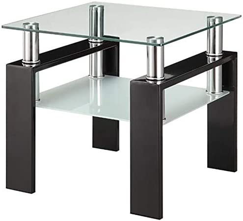 BOWERY HILL 22 Square Contemporary Glass Top End Table in Black and Chrome