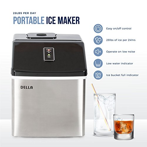 Della Portable Ice Maker, Produces up to 26 lbs. of Ice Daily, 2-Size