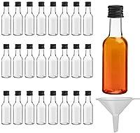 Belle Vous Mini Botellas de Licor (Pack de 24) - Botellas Pequeñas de Plástico 50ml Vacías - Tapa Negra de Rosca y Embudo - Botellas Reutilizables