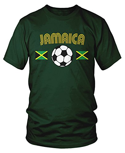 (Amdesco Men's Jamaica Soccer, Jamaican Football T-Shirt, Forest Green XL)