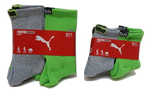 Puma Boys Crew Socks 3-Pack + 1 Bonus Athletic Sports Sox (Sock 5-6.5/ Shoe 4-8.5, Grey/Lime Green - Black Logo) by PUMA (Image #2)