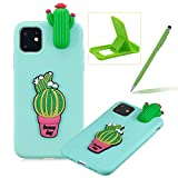 TPU Case for iPhone 11,Soft Rubber Cover for iPhone 11,Herzzer Ultra Slim Stylish 3D Cute Cactus Series Design Scratch Resistant Shock Absorbing Flexible Silicone Back Case