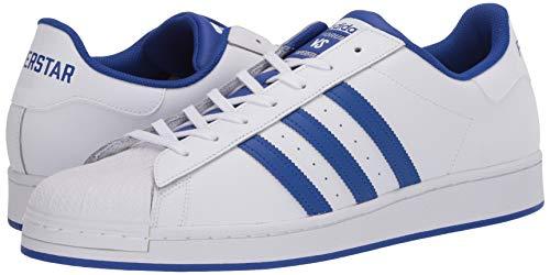 adidas Originals Men's Super Star Sneaker, White/Bold Blue/Granite, 4.5
