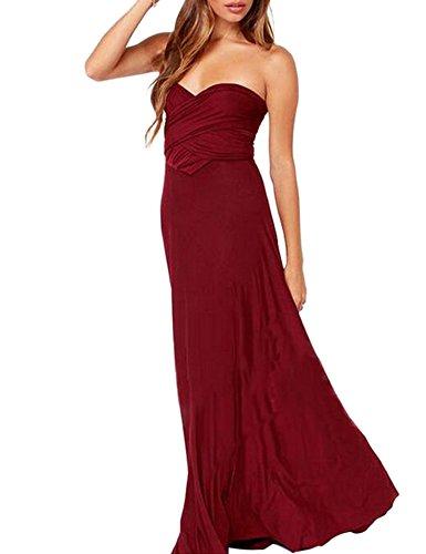 Maxi De Cocktail porter Portefeuille Longue Satin Multi Party Robe Elegante Soirée Vin Rouge CdBxoe