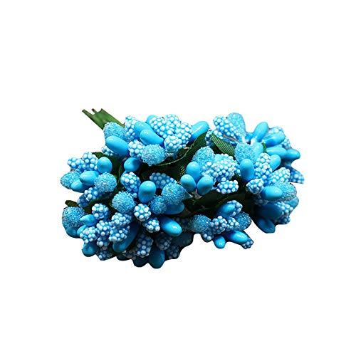 skoqjFQSen Artificial Berry Stamen DIY Handmade Flower Wedding Garland Garden Decoration - Blue