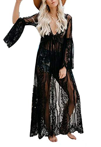 (hujukuludusu Women Sexy Lingerie Lace Sheer See Through Long Dressing Gown Kimono Robe (Black 3,)