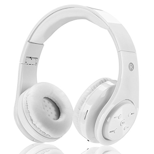 Kids Wireless Bluetooth Headphones Votones Girls Boys Safe Earphones with Volume Limiting with Aux in Phone Control SD Card FM for Smartphone Tablet Pc (White)