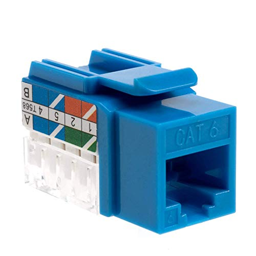 (Cat6 RJ45 Keystone Jack Punch-Down Network Blue (5))