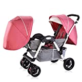 Strollers Baby Twins Baby Stroller Can Sit Down and Fold Babys Face to Face Trolley Double Double Reclining Can Sit and Folding (Color : A)