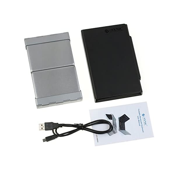ESYNiC Mini Bluetooth3.0 Teclado Inalámbrico Tri-Plegable de Diseño Español Perfecto para iphone7/7p iOS Android PC… 14
