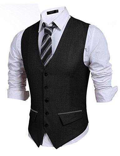 Men Slim Fit Vest, Premium Business Dress Suit 5 Button Vests With Pocket, Large, Black
