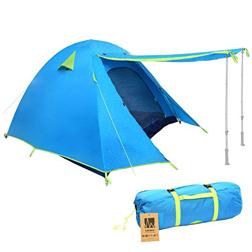 Weanas Professional Backpacking Tent 2 3 4 Person 3 Season Weatherproof Double Layer Large Space Aluminum Rod Outdoor Family Camping Hunting Hiking Adventure Travel (Azure, 3-4 Person)
