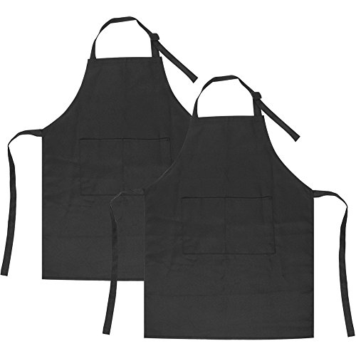 SINLAND Kids Apron with Pocket 2 Pack Children Chef Apron for Cooking Baking Painting (S: 3-6 Years) ()