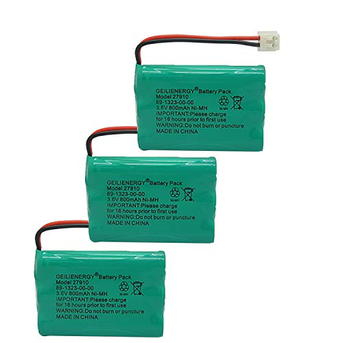 GEILIENERGY 27910 Cordless Phone Battery Rechargeable Compatible with Vtech 89-1323-00-00 at&T E1112 E2801 TL72108 Motorola SD-7501 RadioShack 23-959 Cordless Handsets 3.6V(Pack of 3) (Battery Pack 89 1323 00 00 Model 27910)