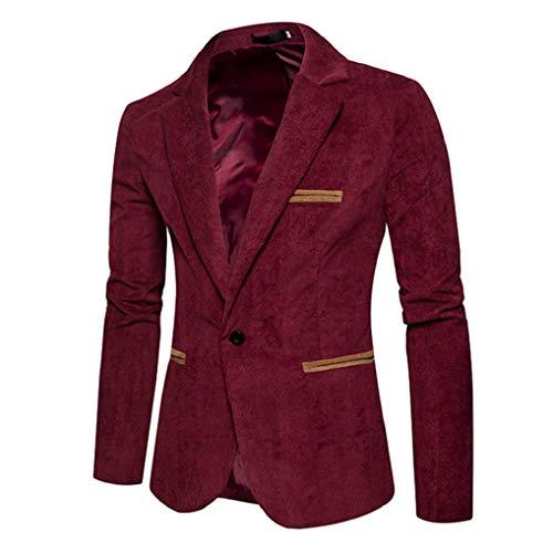 Fnkdor Longues Manches Côtelé De Blousons À En Manteau Décontracté Mode Veste Blazer Hommes Pour Rouge Costume Velours TqrT6B