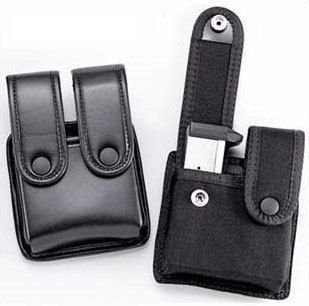 Uncle Mike's Mirage Plain Duty Double Pistol Mag Case, Black for Glock 10mm/.45/.45 HK (Pistol Double Uncle Mikes)
