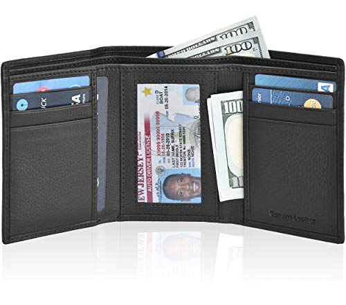 Wallets for Men - RFID Blocking Black Leather Trifold Wallet with 7 Credit Slots