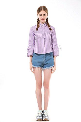 Dioufond® Camisas Rayas Mujer de Manga 3/4 Manguito con Lazo Blusas Casual para Mujer Morado