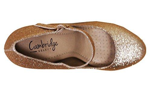 Cambridge Select Femmes Mary Jane Boucle Sangle Robe Coussin Haut Talon Pompe Or Paillettes