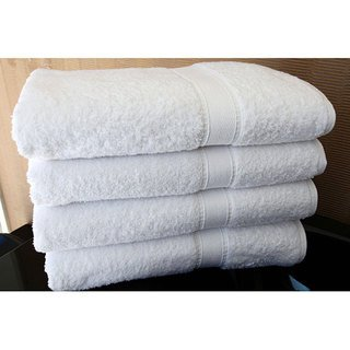 Chakir Turkish Linens Luxury Hotel & Spa Bath Towels 100% Cotton Dobby Border (White, Set of 4)