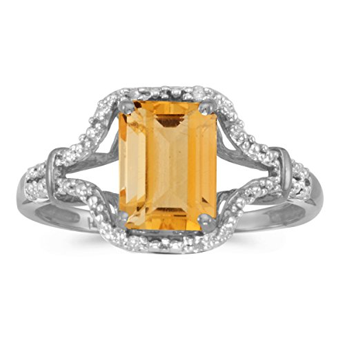 10k White Gold Emerald-cut Citrine And Diamond Ring Size 8
