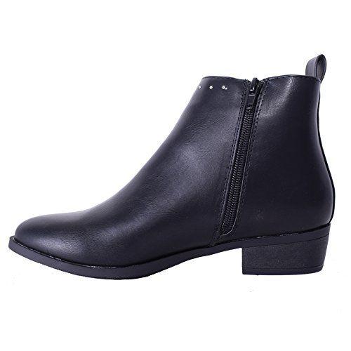 Womens Ladies Flat Ankle Boot Classic Style Silver Studs Zip Casual Black Shoes Size Black Faux Leather sqrZjA6s4E