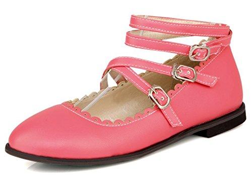 Idifu Dames Meisjes Mode Strappy Gespen Ronde Neus Schoenen Schoenen Watermeloen Rood
