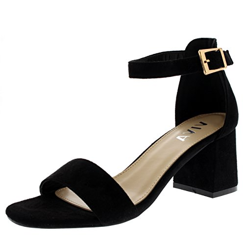 Viva Womens Ankle Strap Block Heel Cut Out Open Toe Barely There Heels Sandal - Black - US9/EU40 - KL0132