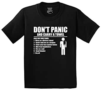 Hitchhiker's Guide Don't Panic and Carry a Towel T-shirt with List