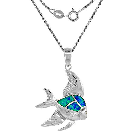 Sterling Silver Synthetic Opal Angelfish Necklace Cubic Zirconia Accent 1 3/8 inch 16 inch ROPH_25