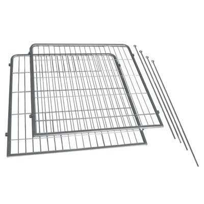 Precision Pet 2-Pack Courtyard Kennel Add-A-Panel with Stakes, 36 by 38-Inch, Silver Crackle