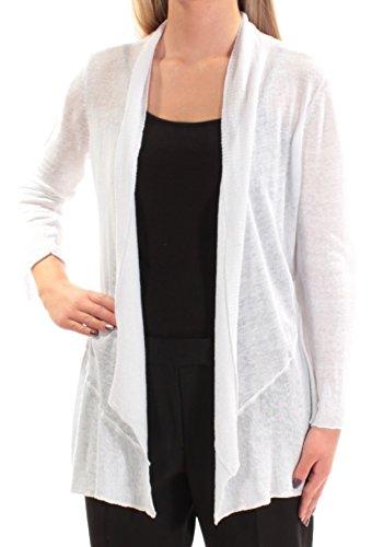 Trim Cardigan Ribbed (Alfani Womens Linen Ribbed Trim Cardigan Top White XL)