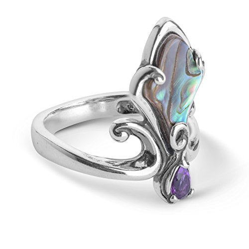 Ring Setting Freeform Silver 925 - Carolyn Pollack Sterling Silver Abalone and Purple Amethyst Gemstone Trumpet Vine Ring Size 08