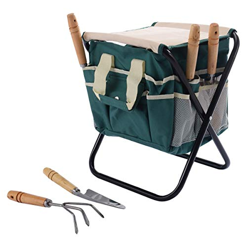 (Cypressshop Folding Garden Stool Seat Set with Gardening Tools Bag Stainless Steel Trowel, Trans-Planter, Cultivator, Weed Fork, Weeder, Set of 7 Pieces Garden Tool Bag)