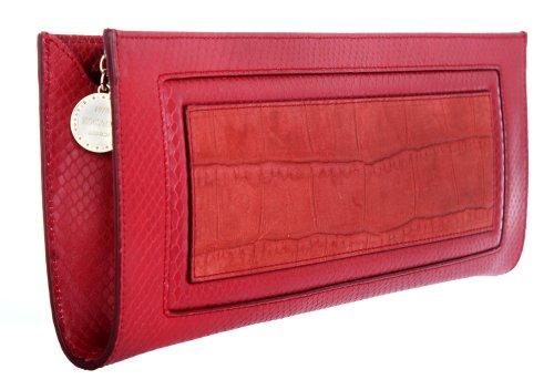 34 Rojo 5 Escada 14 De Cm Bordeaux X Para 3 Cuero Mujer Mano Cartera q84qBT