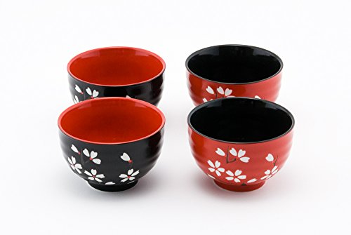 Hinomaru Collection Japanese Traditional Ceramic Rice Bowl Set of 4 Red and Black Cherry Blossom Sakura Decorative Gift Pack Multi Purpose Attractive Design by Hinomaru Collection