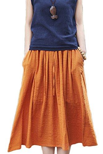 Les Femmes De Jupes t Patineur De Midi Plage Occasionnels Coton Orange